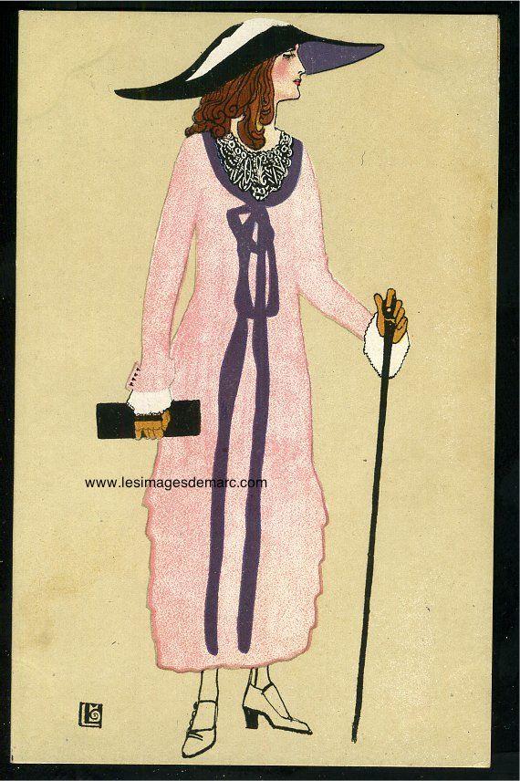 Maria LIKARZ (1893-1971) signe 44 cartes postales de mode dans la série des Wiener Werkstatte. Ses oeuvres, comme celles des autres artistes des Ateliers Viennois, ont influencé le couturier Paul Poiret. Carte postale n°563 de la série des Wiener Werkstätte (9 x 14 cm). Original Postcard. www.lesimagesdemarc.com
