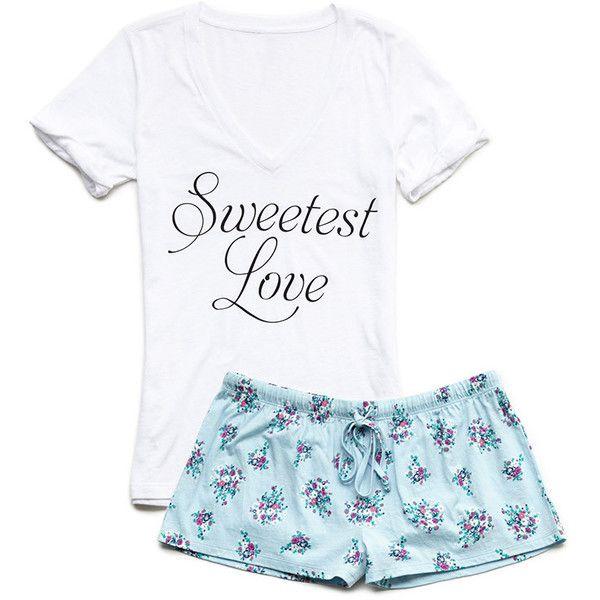 Forever 21 Sweetest Love PJ Set ($15) ❤ liked on Polyvore featuring intimates, sleepwear, pajamas, pijamas, forever 21, forever 21 sleepwear, forever 21 pjs and forever 21 pajamas