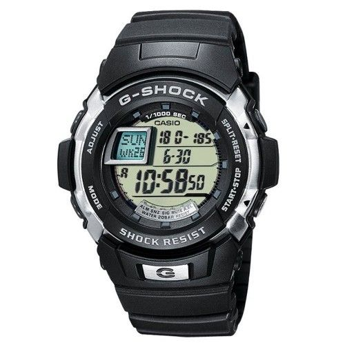 The silver tone detailing creates a great contrast against the black resin case and strap of the Casio G-Shock G-7700-1ER. Its features include 200M water resistance, stopwatch, world time and back light, making it a great sporty watch. RRP £85 Our Price £55