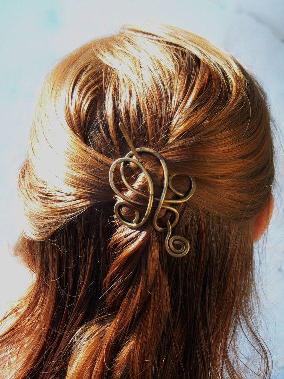 Hair Accessories, Hair Slide, Hair Clips, Hair Sticks, Hair, Stick, Hair Pin, Hair Barrettes, Gift For Her, Bridesmaid Gift, Antique Brass on Etsy, $25.00