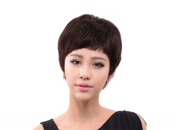 Настоящие волосы парик женщин короткие прямые волосы парик моды стиль действительно Z178