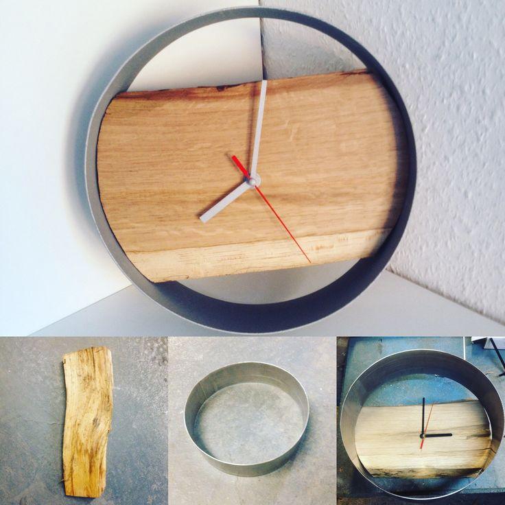 Montre bois métal  Horloge bois métal