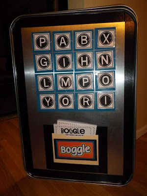 Boggle Board on a metal oil drip pan sold in auto part stores. Perfect for a center!