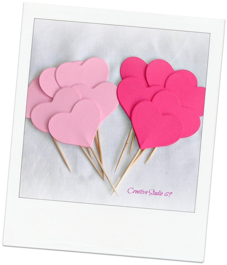 """12 double-sided 2"""" Mixed Pink  Hearts, party picks, cupcake toppers, food picks, party decor"""