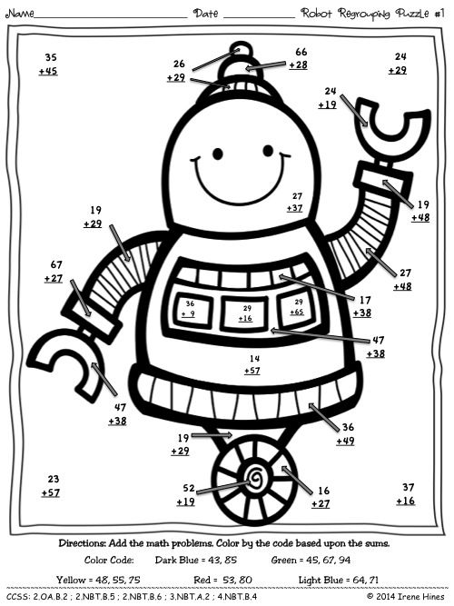 Robot Regrouping ~ Addition Math Printables Color By The Code Puzzles  ~This Unit Is Aligned To The CCSS. Each Page Has The Specific CCSS Listed.~  This set includes 2 math puzzles:  Two puzzles with double digit addition with regrouping. $