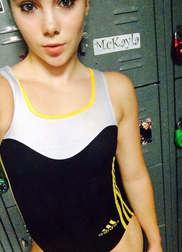 McKayla Maroney wearing her adidas Gymnastics wave tank leotard with hot yellow stripes!