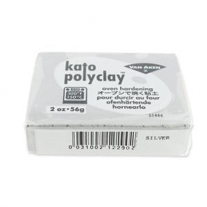 Pâte polymère Kato Polyclay  56 gr Argenté (n°290) : L'argile po