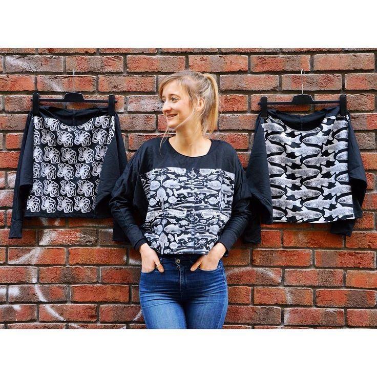 Life aquatic 🐚 print jumper szputnyikshop sweatshirt nautical aquatic pattern black and white kraken fish
