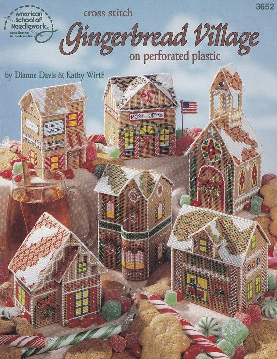 Gingerbread Village, American School of Needlework Plastic Canvas Pattern Booklet 3652  Christmas Town RARE