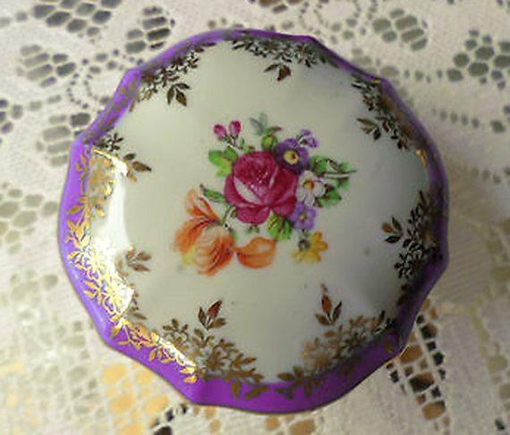Pretty Vintage Dresden Mauve-Pink Floral Gold Gilded Trinket