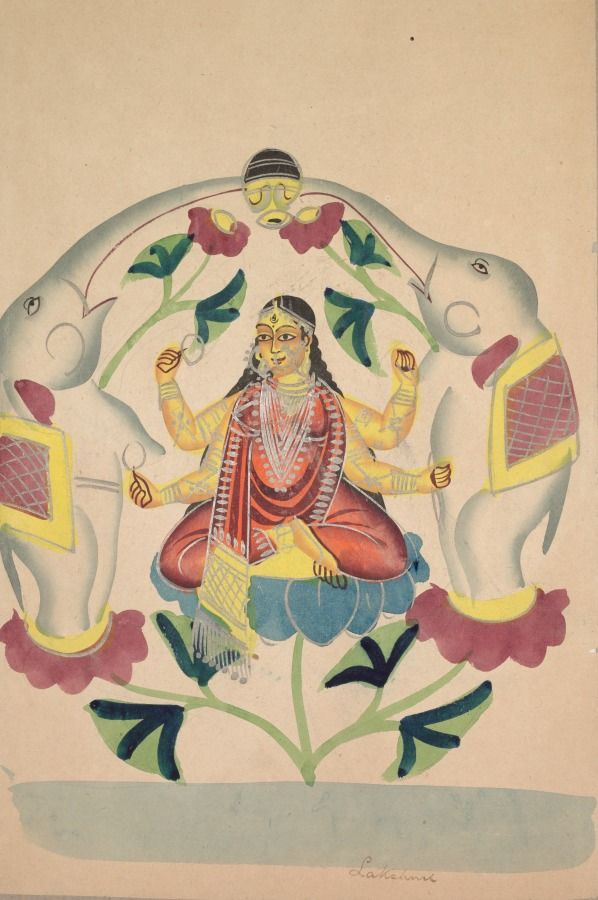 Gajalakshmi: Lakshmi with Elephants, Kalighat, 19th century. Black ink, watercolor, and tin paint, with graphite underdrawing on paper, Secondary Support: 60.70 x 42.40 cm (23 7/8 x 16 11/16 inches); Painting only: 43.00 x 27.70 cm (16 7/8 x 10 7/8 inches). Gift of William E. Ward in memory of his wife, Evelyn Svec Ward 2003.149
