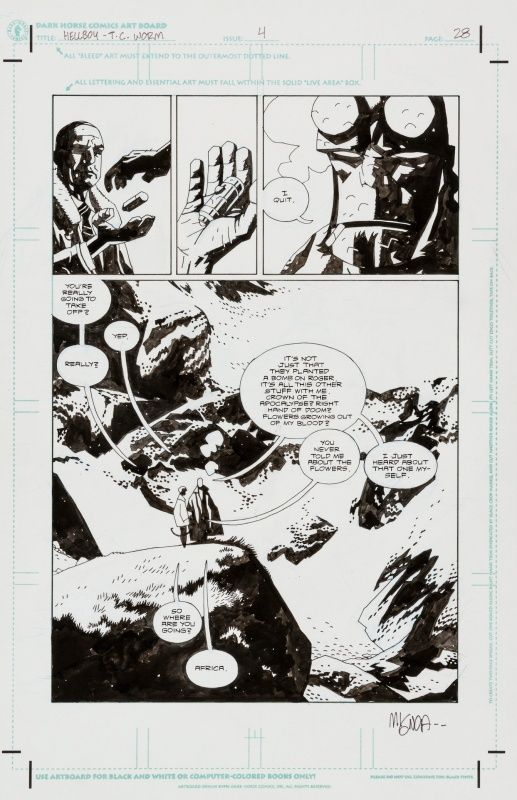 Hellboy - The Conqueror Worm par Mike Mignola - Planche originale