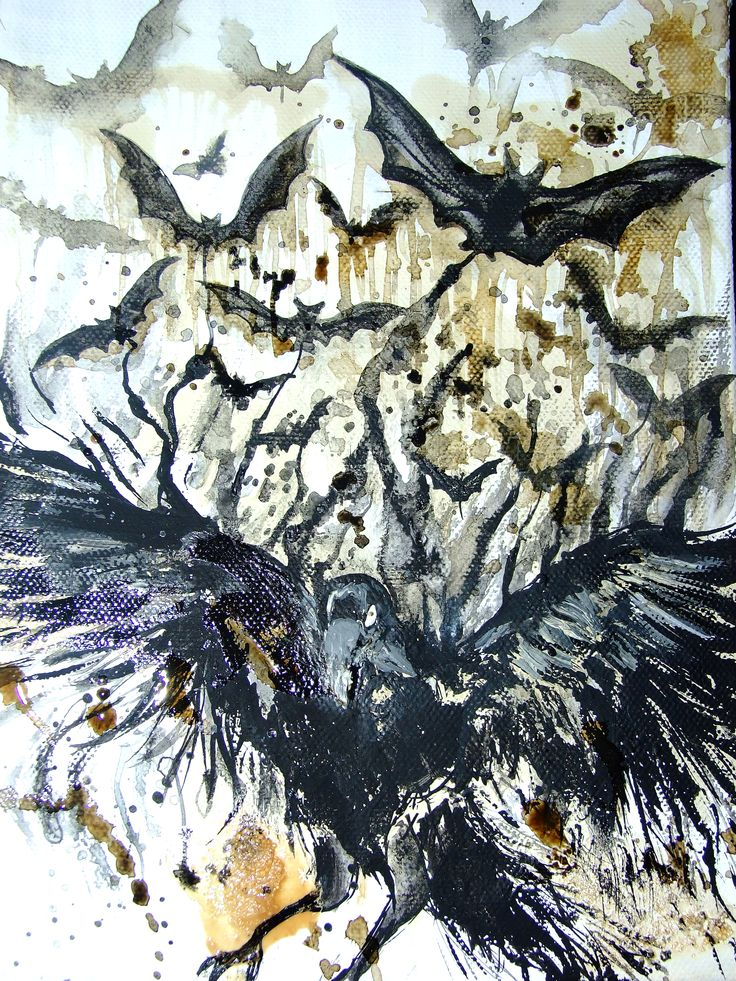 """The Raven's Bats"" acrylic paint and coffee on canvas"""