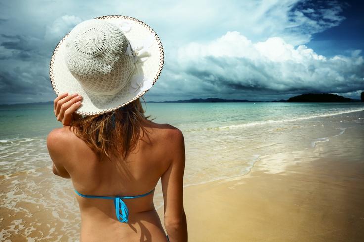 Girl looking at sea.