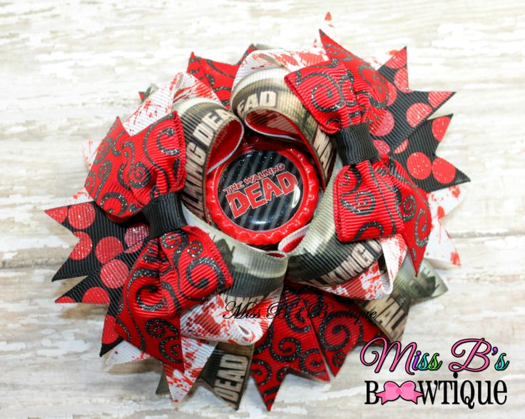 The Walking Dead Inspired Over the Top hair Bow www.facebook.com/missbsbowtique05 www.etsy.com/shop/missbsbowtique05