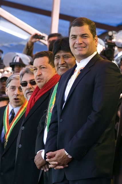 16 July 2009. La Paz (Bolivia): From right, presidents Rafael Correa (Ecuador), Evo Morales (Bolivia), Hugo Chávez (Venezuela) and Fernando Lugo (Paraguay) at the commemoration of the bicentenary of the beginning of the revolution against the Spanish domination in South America. Photo by Albert González Farran / www.albertgonzalez.net