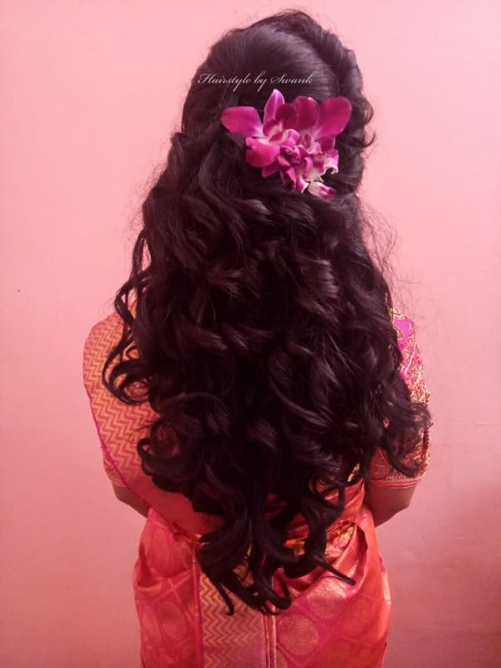 Cascading Bridal Curls Hairstyle By Team Swank South Indian Bride Orchids Bridal Silk Saree Indian Bridal Hairstyles Hair Styles Hair Sytles