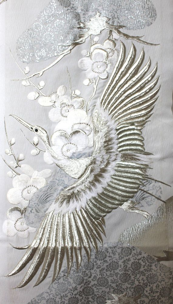 Silver embroidered kimono fabric - who knew!