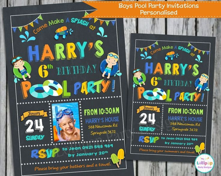 POOL PARTY INVITATIONS INVITE SUMMER BOYS GIRL PERSONALISED CHALKBOARD SWIM CARD…