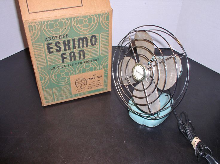 """Vintage 1940s Eskimo 8"""" Table Fan in Box - Turqouise - All Metal & works great! by SMNantiques on Etsy"""