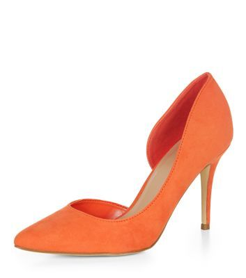 Orange Open Side Pointed Court Shoes