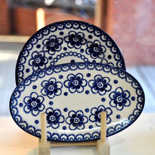 Nice huge blue flowers by Polish pottery
