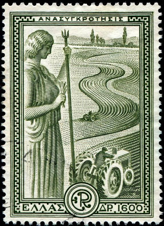 "Greece: September 20, 1951; an allegorical figure representing ""Agriculture,"" and modern tractors plowing a field; issued by Greece as one of a set of six stamps publicizing Greece's economic recovery under the Marshall Plan; engraved and printed by Thomas De La Rue & Co., Ltd. [Scott No. 542]"