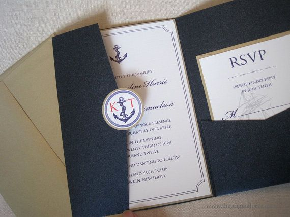 Nautical Theme Wedding Invitation by theoriginalpear on Etsy, $4.75