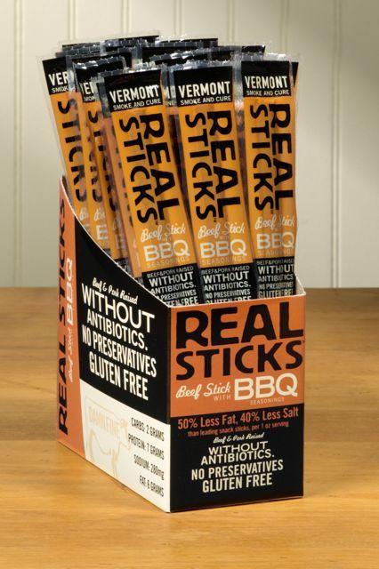 BBQ RealSticks These are awesome and not as bad for you as the nasty slim jims. check them out. Hannaford carries them.