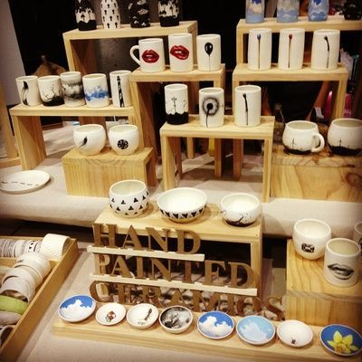Wooden risers to add height to a craft fair table.
