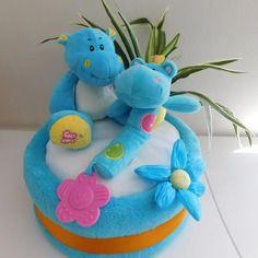 La baby shower de maman Gâteau de couches ;mes hippopotames; pour baby shower