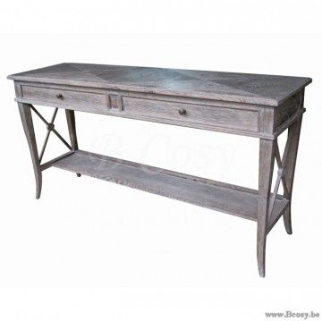 XX-PR Interiors Sacramento Console in Burned Oak met 2 lades met antiek messing knoppen 160