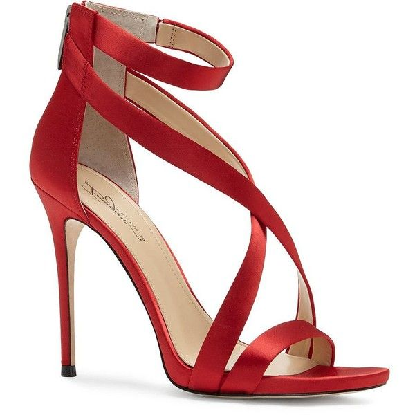 Imagine Vince Camuto Devin Satin Sandals ($110) ❤ liked on Polyvore featuring shoes, sandals, red, strappy high heel sandals, strappy sandals, red high heel shoes, ankle strap high heel sandals and high heel stilettos