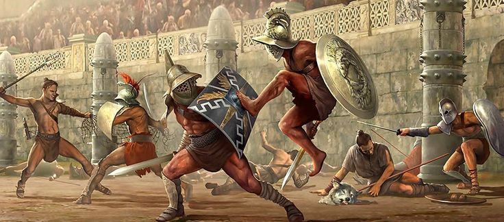 gladiators - Google Search. This image depicts a fight in the arena. gladiators would often fight to the death to achieve victory. i chose to pin this image as it is well painted and shows the intensity of the arena. image source - www.mygladiators.com
