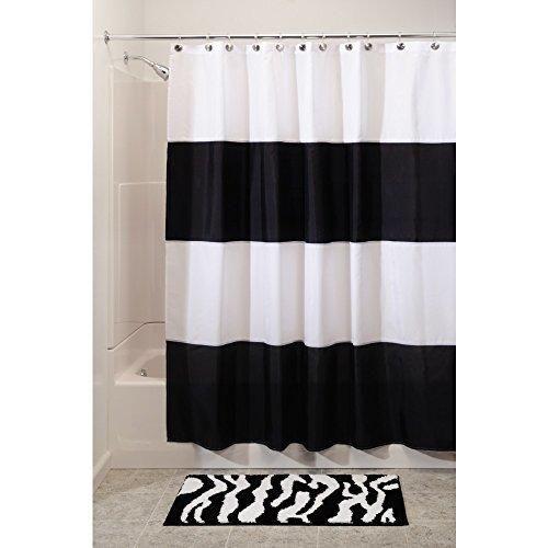 Interdesign Zeno Waterproof Shower Curtain Black and White 72 Inches X 72 Inches