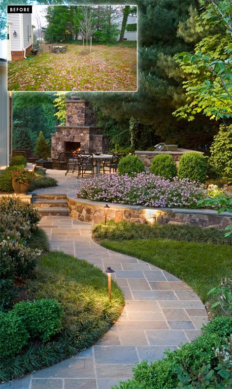 Before and After-Surroundslandscaping.com- stunning transformation of a boring side yard into a retreat with gardens, bluestone walkway and stone fireplace