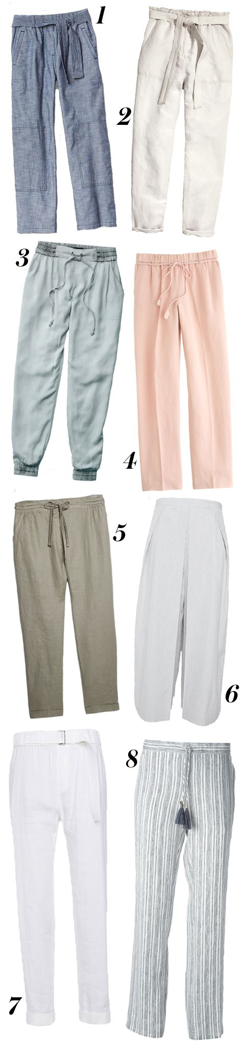 Before the heat waves hit, trade in your frilly skirts and short-shorts for some airy, lightweight pants. Shop our favorites here.