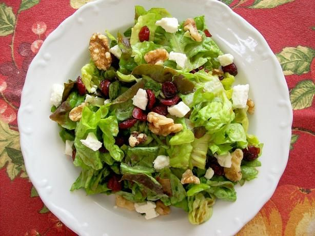 Cranberry, Feta & Walnut Salad: feta, dried cranberries, salad greens, balsamic vinegar, honey, Dijon mustard, olive oil & pepper