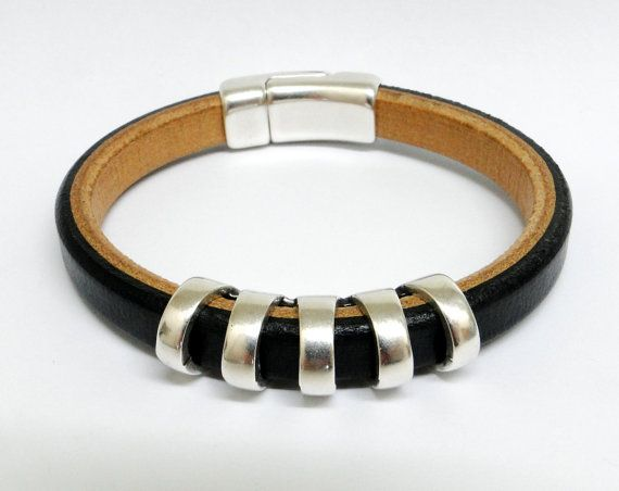 Men's 2 toned black and camel leather bracelet with silver 5 circle sliver. LuxuriousLeathers, $38.00