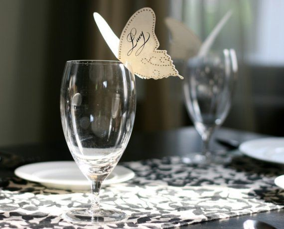 place cards, so cute and easy to make! butterflies, bat, bees, stars, flowers, snowflakes etc.
