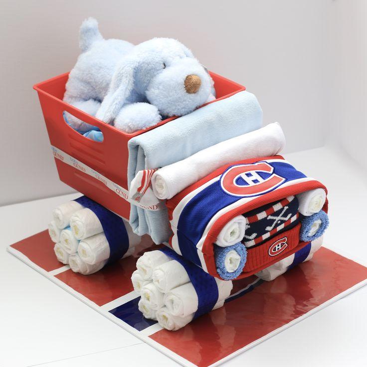 Hockey Baby Centrepiece,Hockey Baby Gift, Habs Baby, Diaper Truck