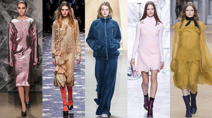 индивидуальность в стиле  Романтическому типажу подойдут актуальные образы в стиле 70-х, цветные тотал-луки, платья и костюмы металлических цветов, вещи с нежными оборками и в пастельной гамме.