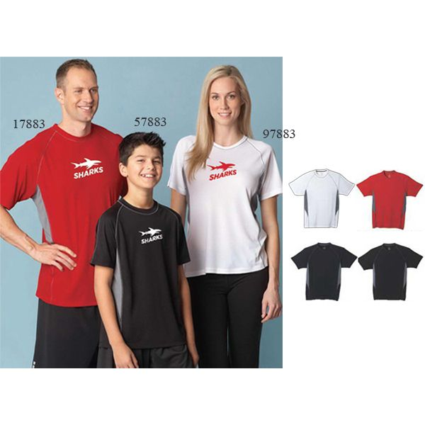 Youth short sleeve tech tee with self fabric collar and raglan sleeves. Great for your next tournament!