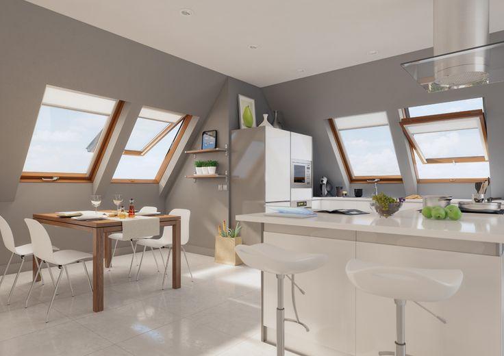 Una casa luminosa è una casa viva #living #kitchen #windows #light #home #attic #interiordesign  www.fakro.it