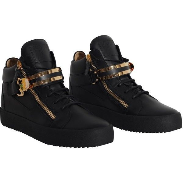 Giuseppe Zanotti High Top Sneaker ($725) ❤ liked on Polyvore featuring shoes, sneakers, black, giuseppe zanotti trainers, kohl shoes, black high tops, giuseppe zanotti sneakers and hi tops