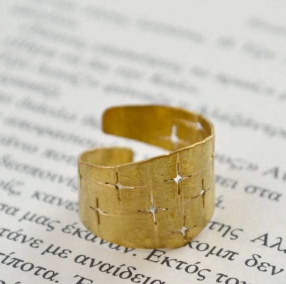 Adjustable brass ring with cross shaped holes by fanoulala on Etsy