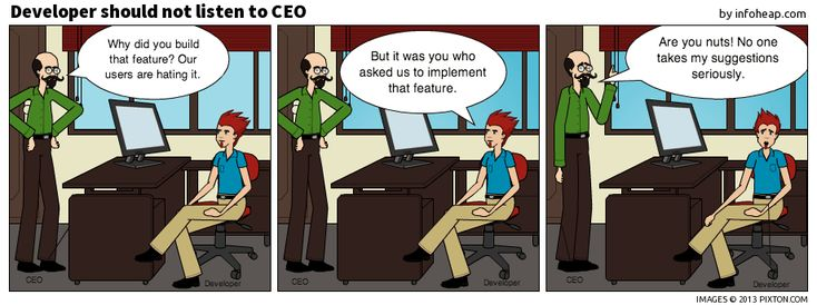 Comic strip – developer should not listen to CEO