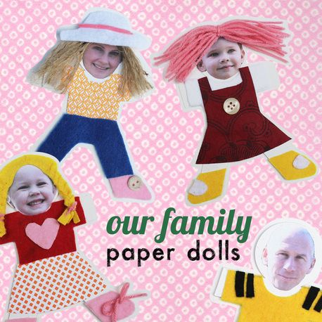 Paper dolls with a quirky twist, make them in to your own family by sticking a photo on the faces. Easy and fun for kids of all ages.