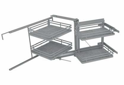 Pull-out mechanism for corner base unit, with soft opening-closing and four baskets