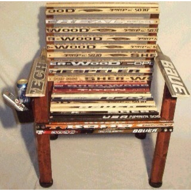 Awesome Chair Made Out Of Hockey Sticks : )